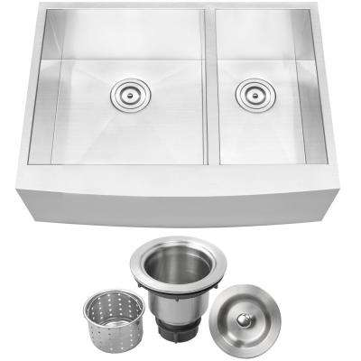 Bryce Zero Radius Farmhouse Apron Front 16-Gauge Stainless Steel 30 in. Double Basin Kitchen Sink with Basket Strainer