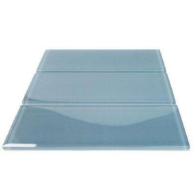 Contempo Blue Gray Polished 4 in. x 12 in. x 8 mm Glass Subway Tile