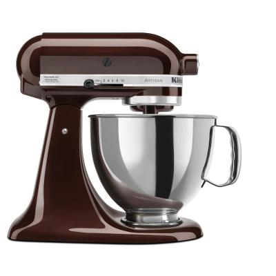 Artisan 5 Qt. 10-Speed Espresso Stand Mixer with Flat Beater, 6-Wire Whip and Dough Hook Attachments