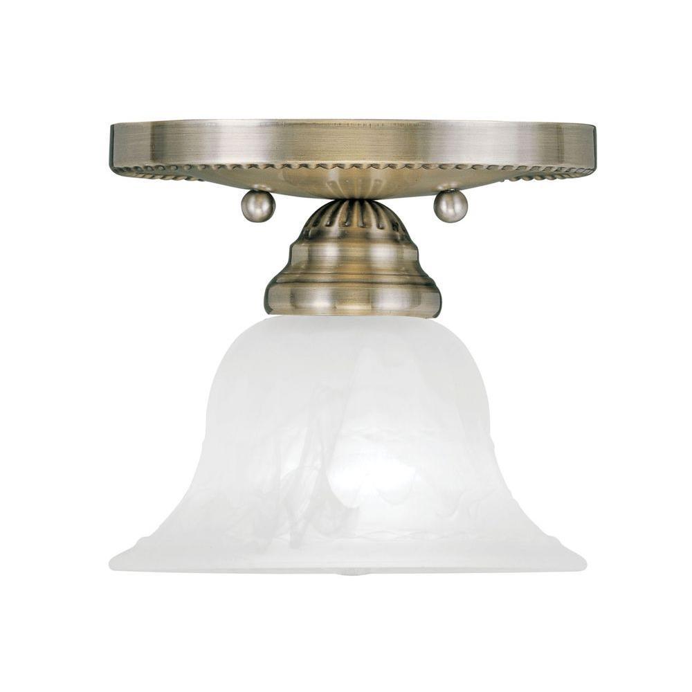 Providence 1-Light Ceiling Antique Brass Incandescent Semi-Flush Mount