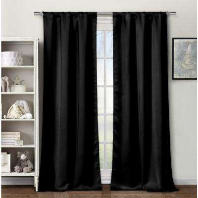 Solid Black Polyester Blackout Grommet Window Curtain 60 in. W x 84 in. L (2-Pack)