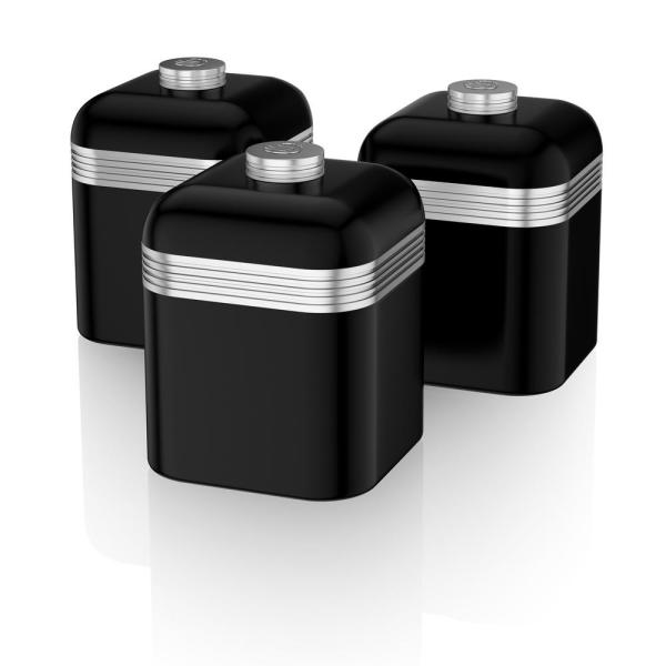 Retro 3-Piece Black Stainless Steel Canisters