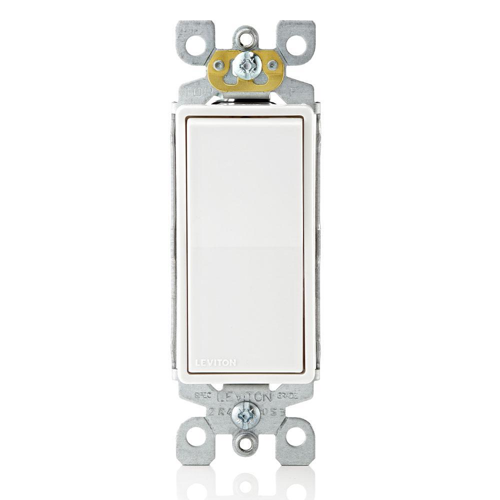 Leviton Decora 15 Amp Single Pole Ac Quiet Switch White R72 05601 2ws The Home Depot