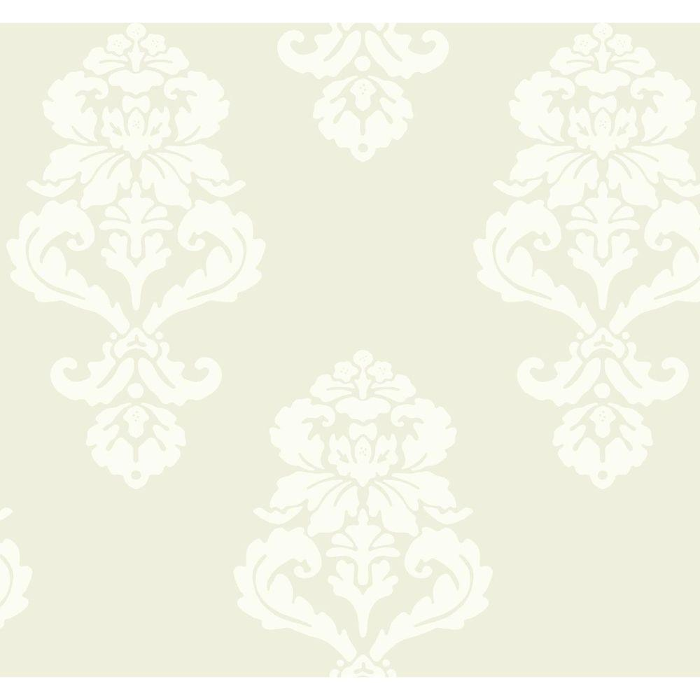 Black and White Beige Graphic Damask Wallpaper