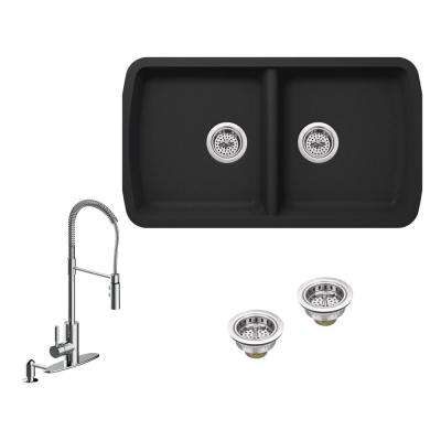 All-in-One Undermount Granite Composite 34 in. 50/50 Double Bowl Kitchen Sink in Black with Faucet in Polished Chrome