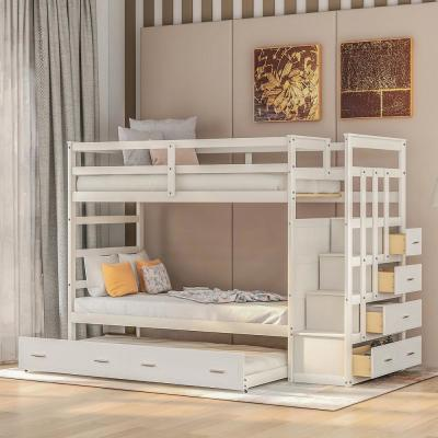 White Modern Twin over Bunk Bed with Trundle and Drawers