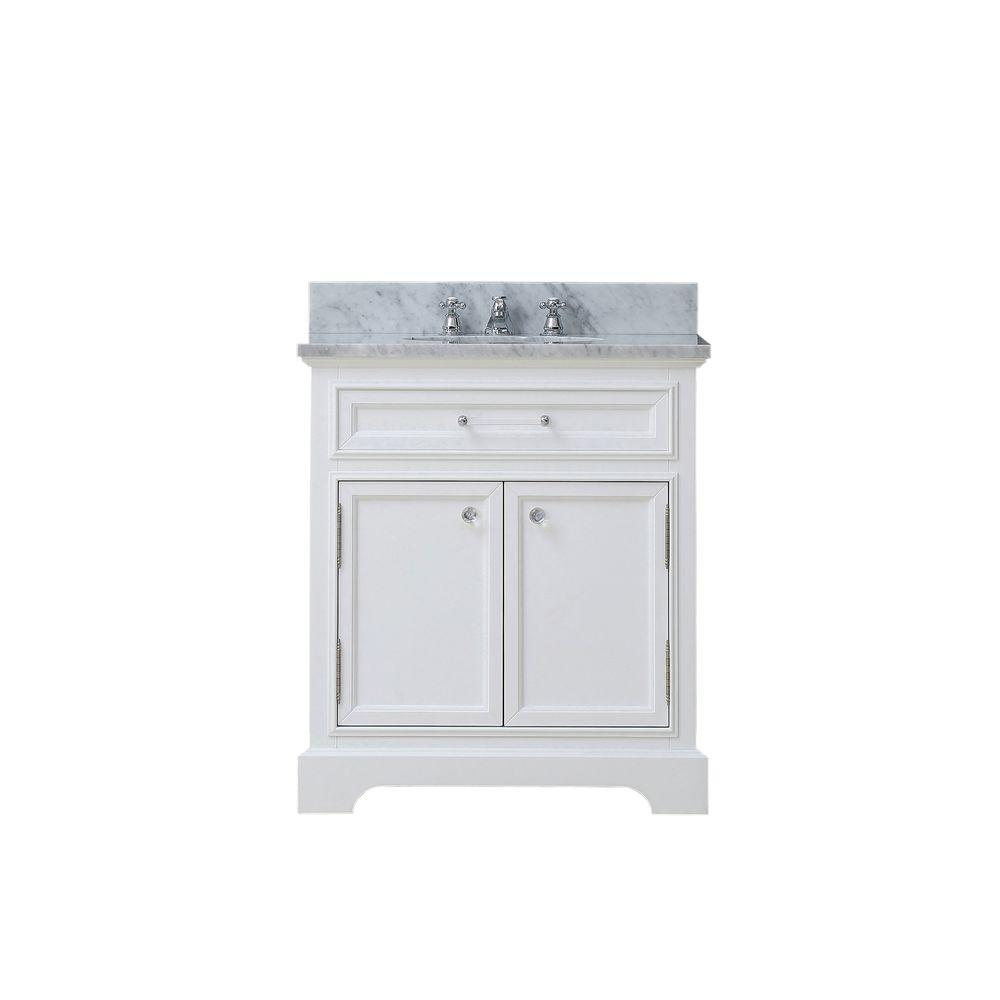 Water Creation 24 in. W x 22 in. D Bath Vanity in White with Marble Vanity Top in Carrara White and Chrome Faucet with Whitye Basin