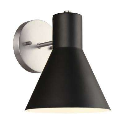 Towner 1-Light Black Shade with Brushed Nickel Accents Sconce