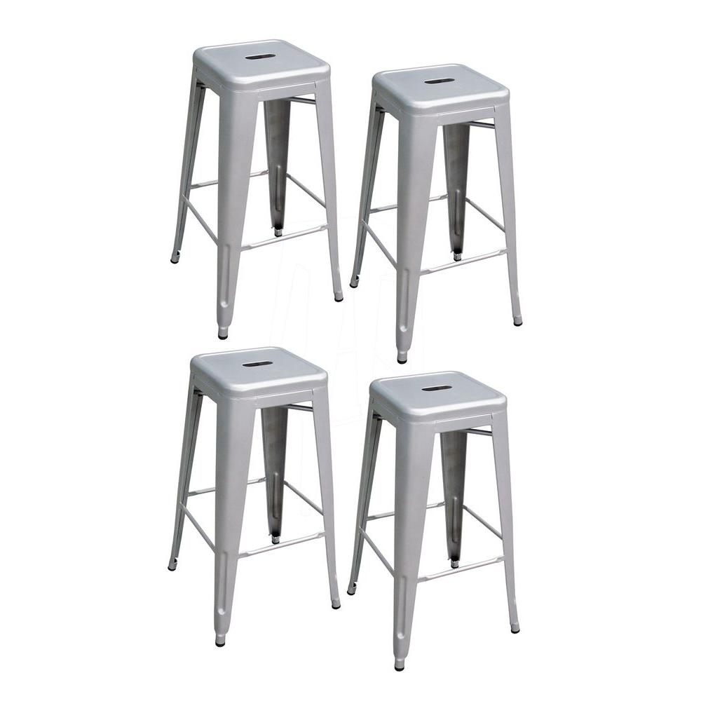 AmeriHome AmeriHome Loft Style 30 in. Stackable Metal Bar Stool in Silver (Set of 4)