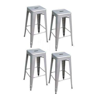 Stackable Metal Bar Stool in Silver (Set of 4)  sc 1 st  The Home Depot : bar stools metal - islam-shia.org