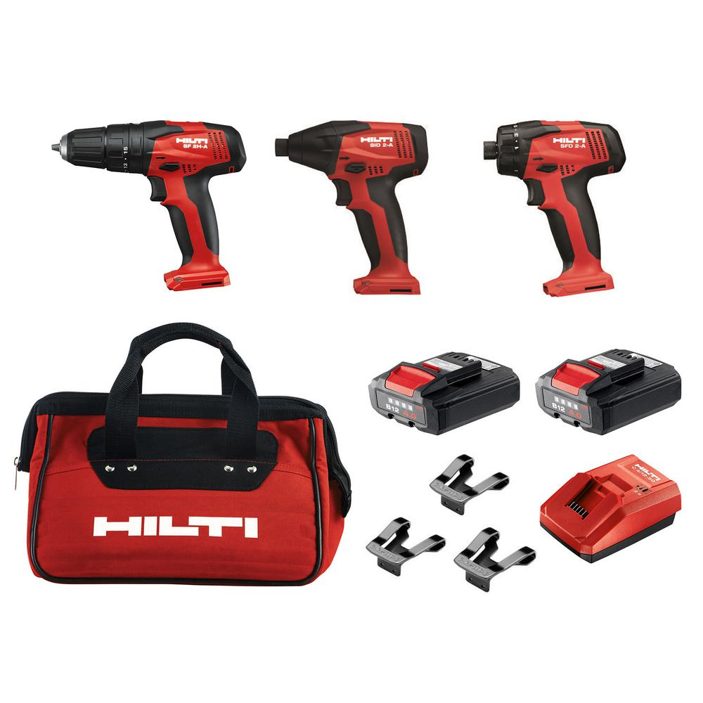 Hilti 12-Volt Lithium-Ion Cordless Rotary Impact Driver/Hammer Driver/Drill and Screwdriver Combo Kit  (3-Tool)