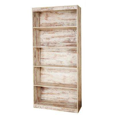 White Wash Sturdy Standard 5-Shelf Bookcase