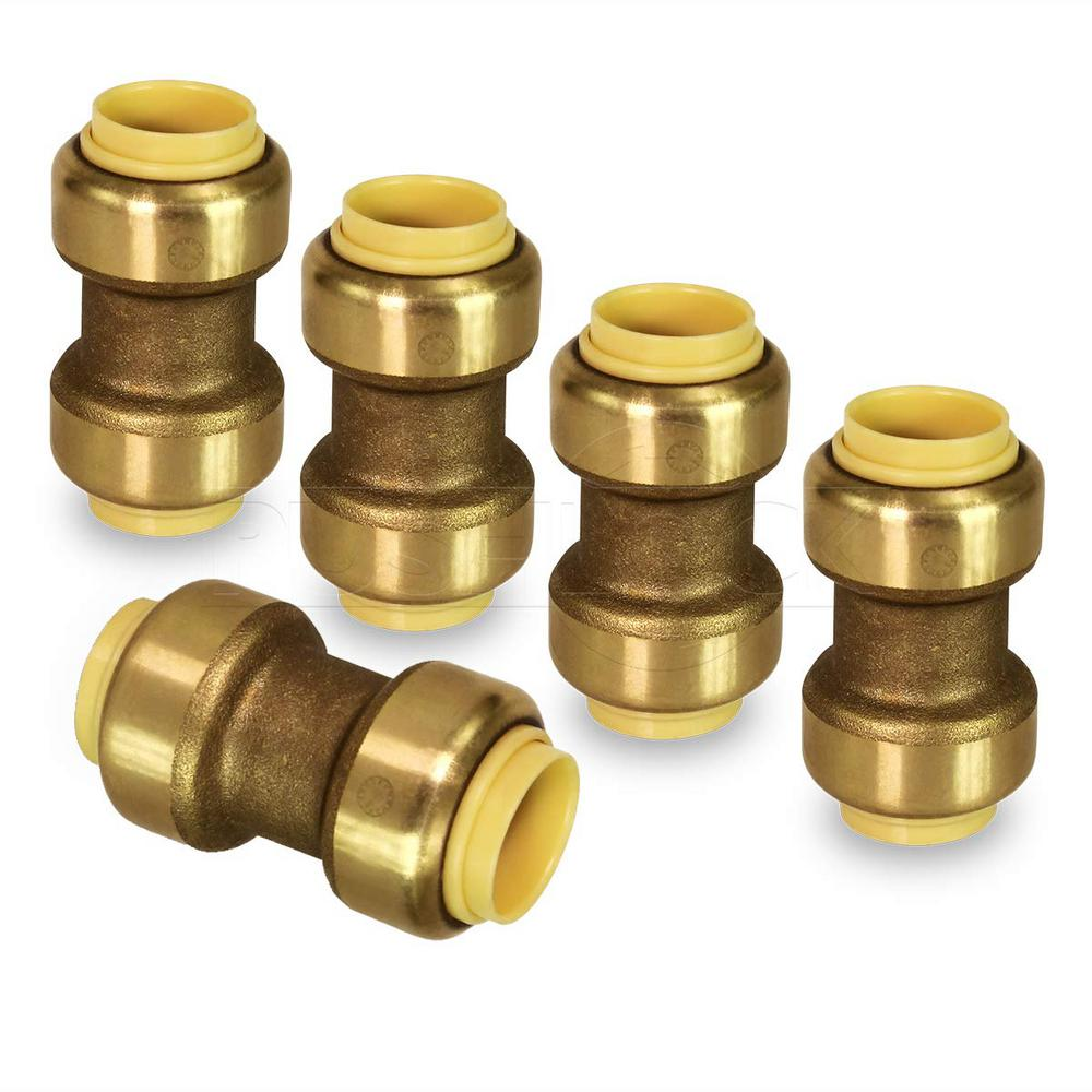 The Plumber's Choice 1/2 in. Straight Coupling Pipe Fittings Push to Connect PEX Copper CPVC Brass (5-Pack)