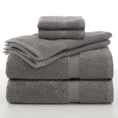 Essentials 6-Piece Cotton Towel Set in Monument Grey