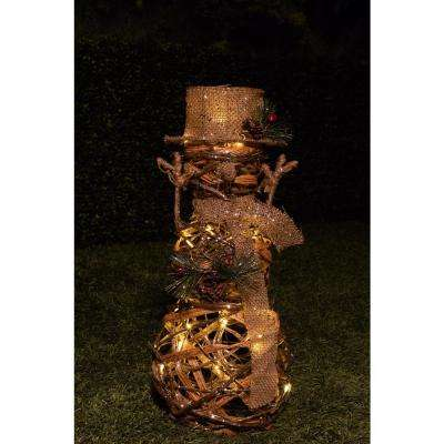 19 in. Rattan Snowman with 20 Warm White LED Lights