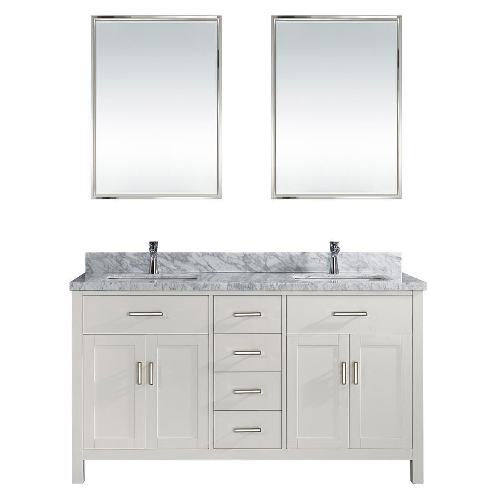 Studio Bathe Kalize II 63 In. W X 22 In. D Vanity In White With Marble  Vanity Top In Gray With White Basin And Mirror-KALIZE II 63 WHITE-CARRERA -  The Home