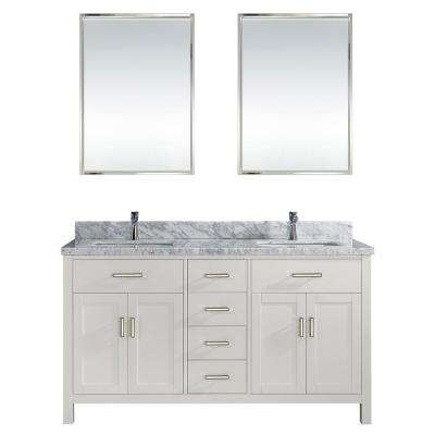 Kalize II 63 in. W x 22 in. D Vanity in White with Marble Vanity Top in Gray with White Basin and Mirror