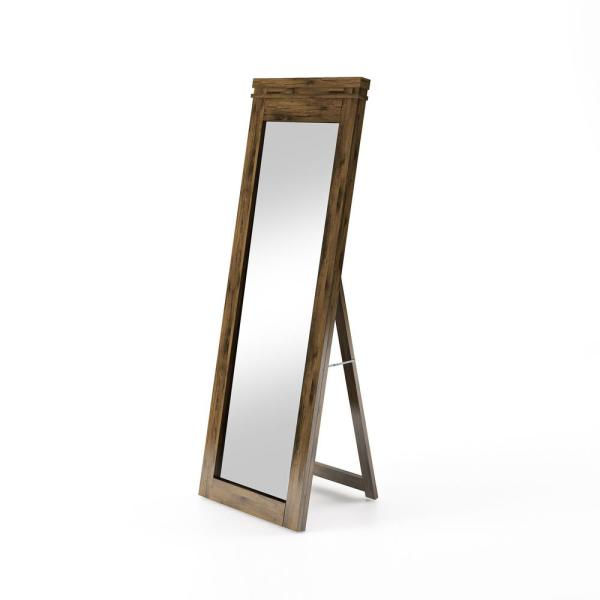 Large Walnut Wood Beveled Glass Rustic Mirror (60 in. H X 21.5 in. W)
