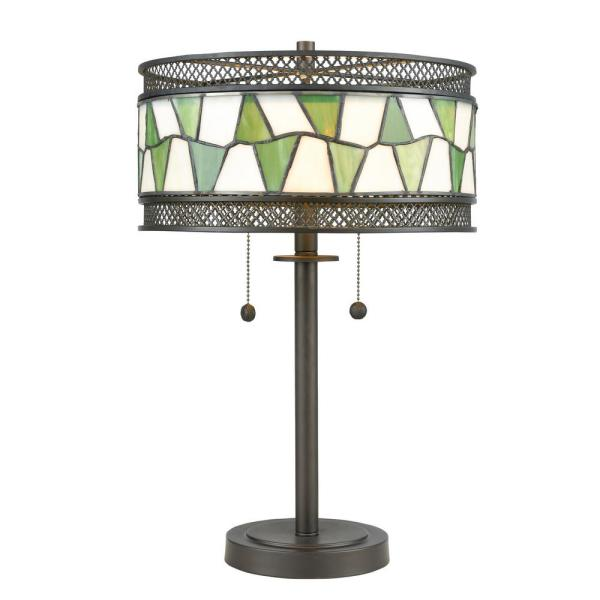 23.25 in. Tiffany Bronze Table Lamp with Hand Rolled Art Glass and Metal