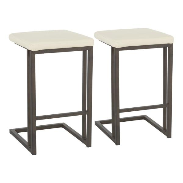 Roman 26 in. Counter Stool with Cream Faux Leather & Antique Metal (Set of 2)