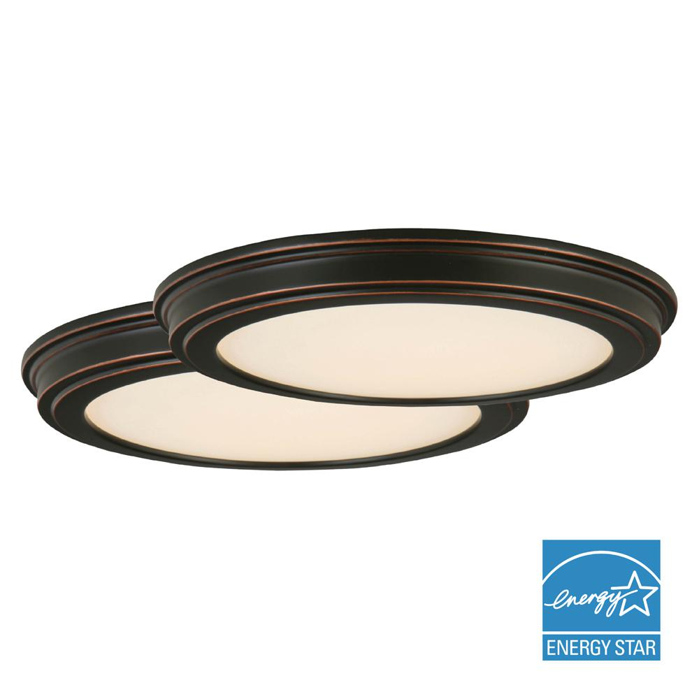 Commercial electric 7 in white low profile 115 watt 800 lumen 180 watt equivalent oil rubbed bronze integrated led ceiling flushmount aloadofball Image collections