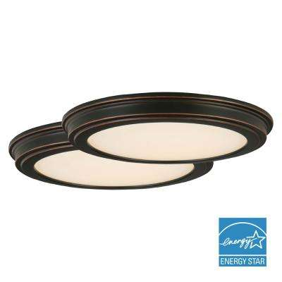 24-Watt Oil Rubbed Bronze Integrated LED Ceiling Flushmount (2-Pack)