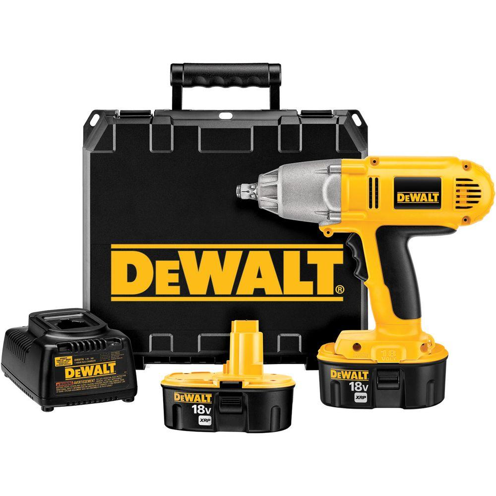 DEWALT 18-Volt XRP Ni-Cad 1/2 in. Cordless Impact Wrench Kit with Hog Ring Anvil