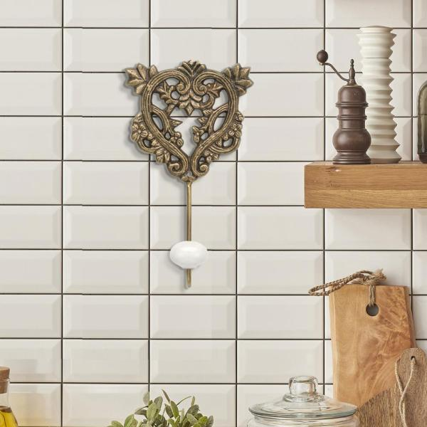 Stonebriar Collection 4 in. x 7 in. Brass Hook with White Ceramic Knob