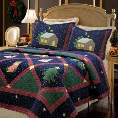 Christmas Silent Night Starry Sky Cabin 3-Piece Blue Green Red Holiday Patchwork Applique Cotton King Quilt Bedding Set