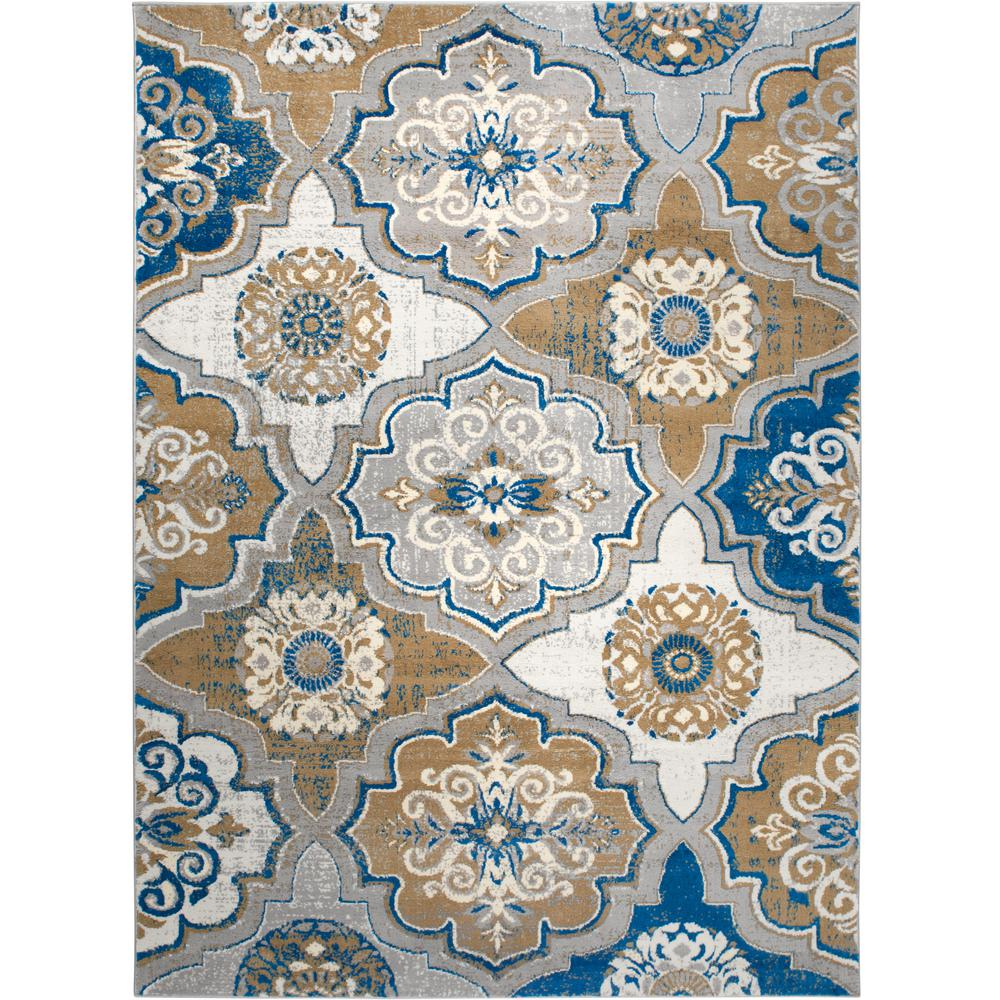 Home Dynamix Tremont Taupe Blue 3 Ft 3 In X 5 Ft 2 In