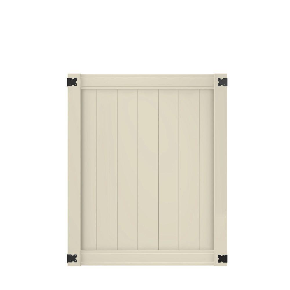 Pro Series 4 ft. W x 5 ft. H Tan Vinyl Woodbridge Privacy Fence Gate