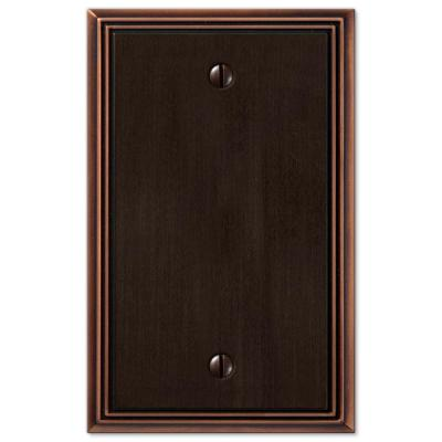 Rhodes 1 Gang Blank Metal Wall Plate - Aged Bronze