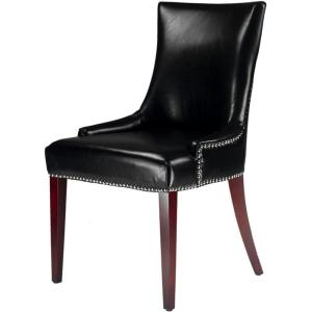 +6. Safavieh Becca Black Leather Dining Chair