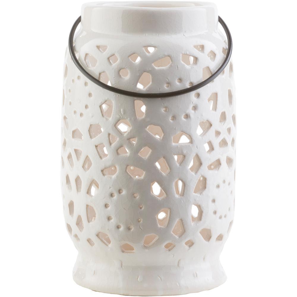 Kimba 9.4 in. White Ceramic Lantern