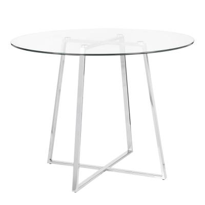 Cosmo Round Dining Table in Chrome with Clear Glass Top