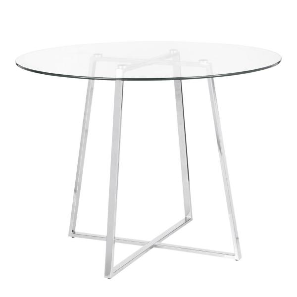 Lumisource Cosmo Round Dining Table In Chrome With Clear Gl Top