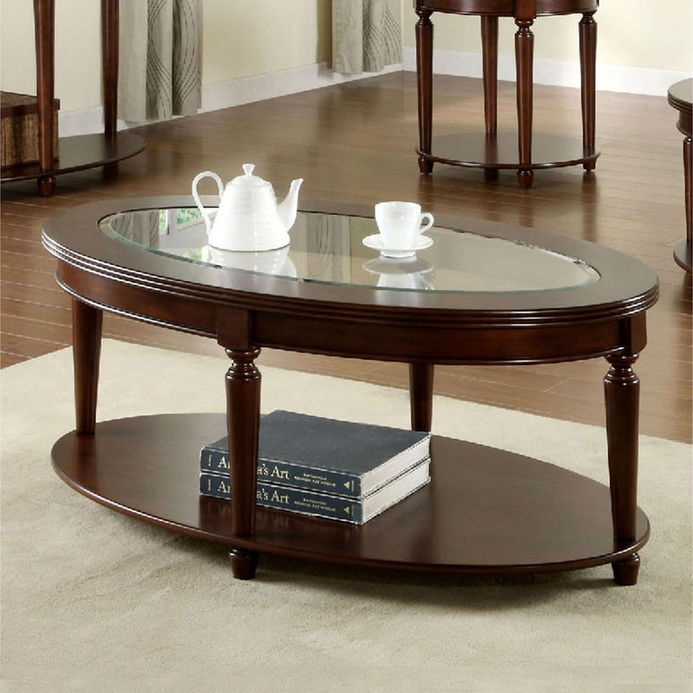 Furniture of America Granvia Dark Cherry Coffee Table