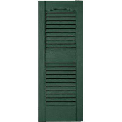 12 in. x 31 in. Louvered Vinyl Exterior Shutters Pair in #028 Forest Green