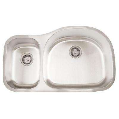 Undermount Stainless Steel 35 in. 0-Hole Reverse Double Bowl Kitchen Sink