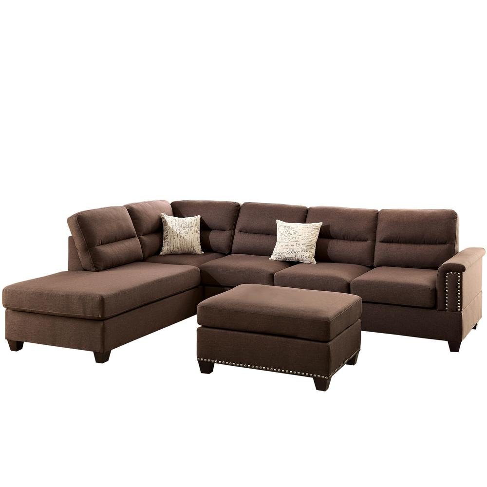 Venetian Worldwide Naples 3 Piece Sectional Sofa In Chocolate With Ottoman