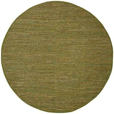 Green Leather 3 ft. x 3 ft. Area Rug
