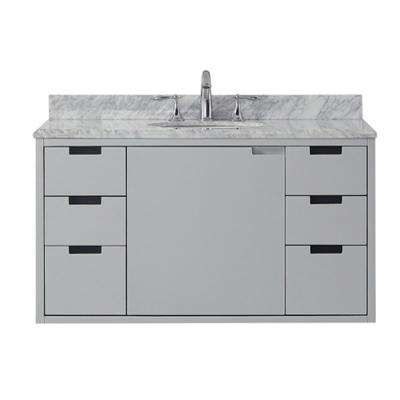 Urich 42 in. W x 19 in. D Vanity in Dove Grey with Carrara Marble Vanity Top in White with White Sink