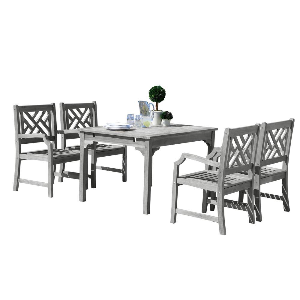 Renaissance 5-Piece Wood Rectangle Outdoor Dining Set