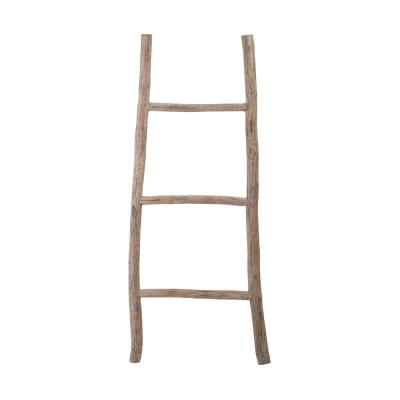 17 in. x 39 in. White Washed Wood Decorative Ladder