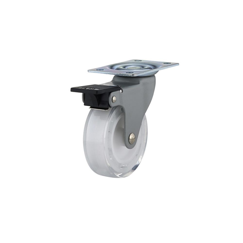 2-15/16 in. Clear White Swivel with Brake Plate Caster, 110 lb.