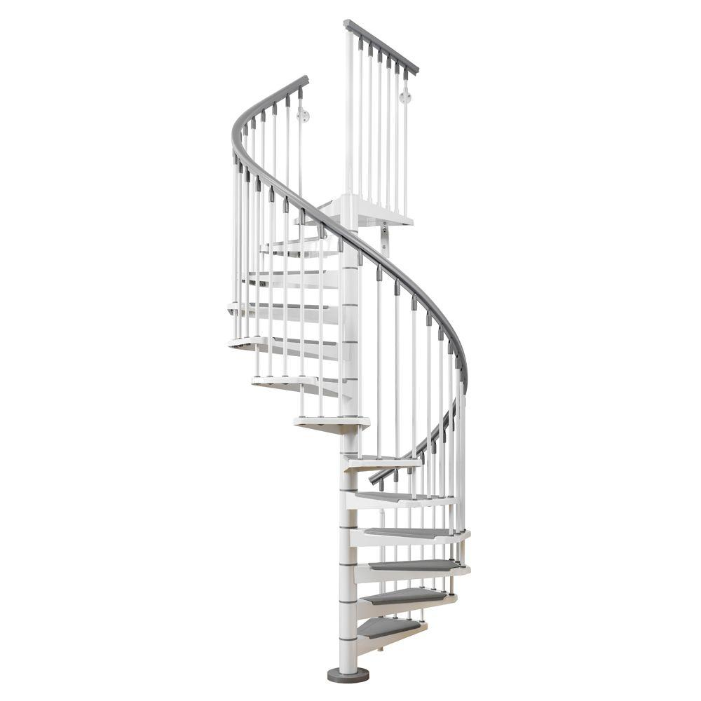 Arke Eureka 63 in. White Spiral Staircase Kit-K21007 - The Home Depot