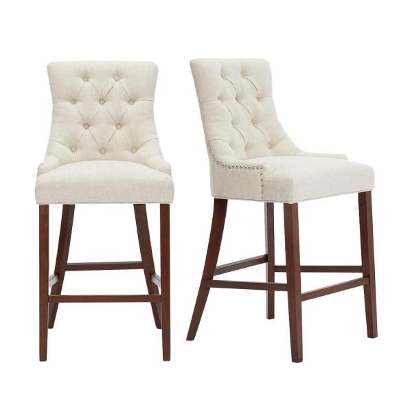 Stylewell Bakerford Walnut Finish Upholstered Bar Stool With Back And Biscuit Beige Seat Set Of 2 21 85 In W X 46 85 In H Nutton H Wb The Home Depot