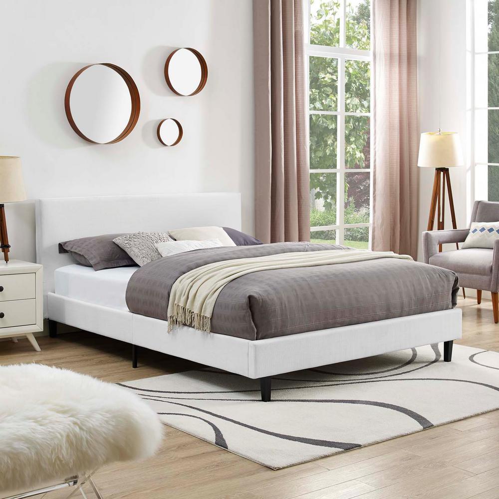 Anya White Full Fabric Bed