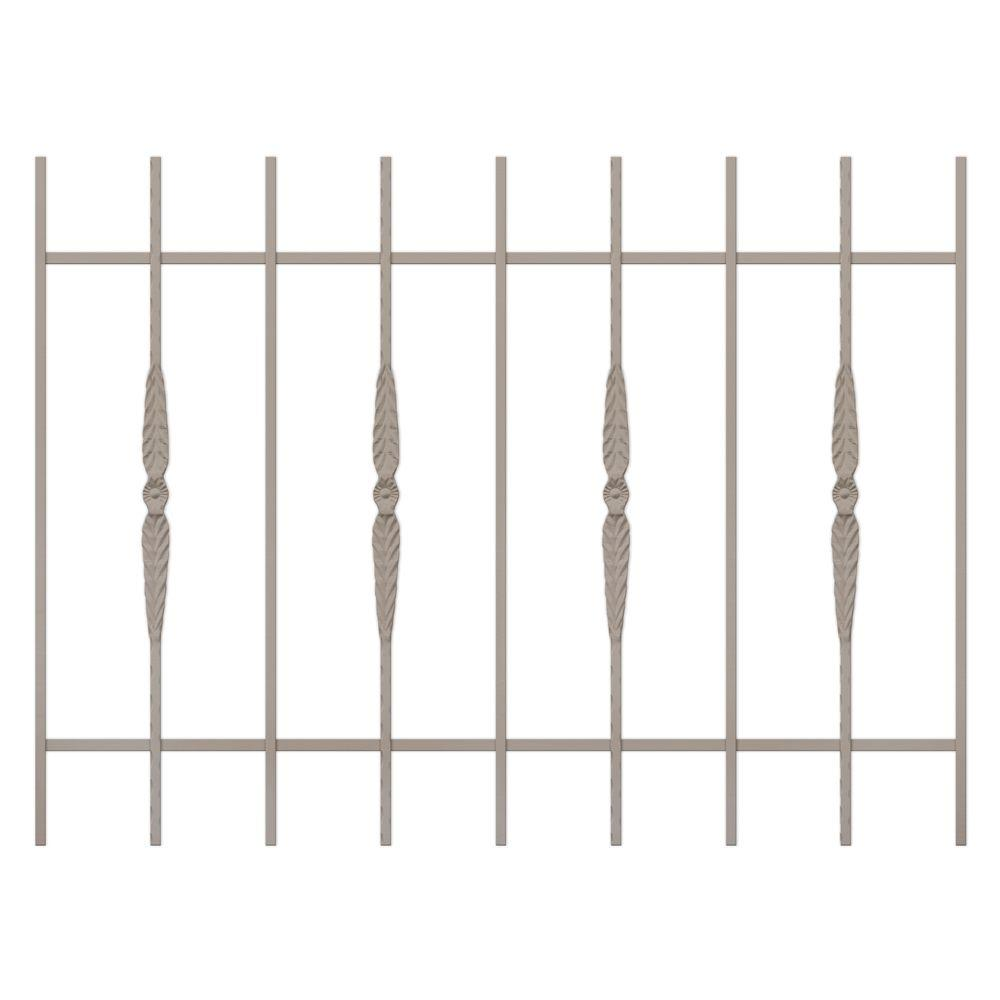 Unique Home Designs Cottage Rose 48 in.x 36 in. Tan 9-Bar Window Guard-DISCONTINUED