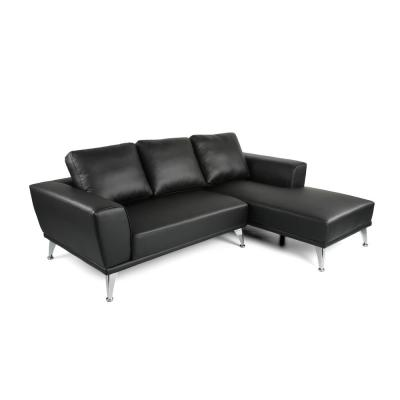 Connel 2-Piece Black and Silver Fabric Chaise Sectional